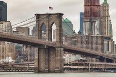 Ponte di Brooklyn storico Fotografie Stock
