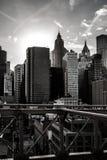 Ponte di Brooklyn - vista di Manhattan fotografie stock libere da diritti