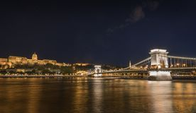 Ponte di catene a Budapest Immagini Stock Libere da Diritti