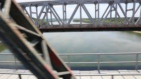 Ponte di Cernavoda - vista dal treno stock footage