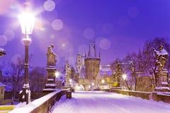 Ponte di Charles, poca città, Praga (Unesco), repubblica Ceca fotografia stock