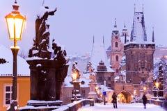 Ponte di Charles, poca città, Praga (Unesco), repubblica Ceca immagini stock