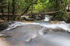 Ponte di corda e cascata fotografia stock