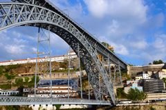 Ponte di Don Luis I Ponte Luis I is a railway, road and pedestrian bridge over the Douro River in Portugal. The symbol of the city of Porto. Details close-up royalty free stock images