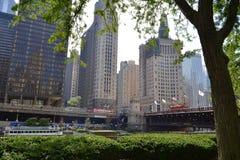 Ponte di DuSable in Chicago del centro fotografia stock