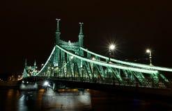 Ponte di Elisabeth a Budapest alla notte Fotografia Stock