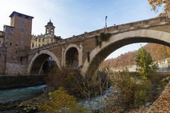 Ponte di Fabricius a Roma Fotografie Stock