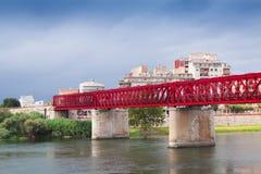 Ponte di Ferrocarril sopra il fiume di Ebre Tortosa Immagini Stock Libere da Diritti