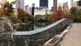 Ponte di Gapstow in autunno tardo immagine stock libera da diritti