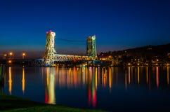 Ponte di Houghton-Hancock dopo il tramonto immagine stock