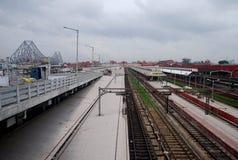 Ponte di Howrah e stazione ferroviaria Fotografia Stock