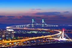 Ponte di Incheon in Corea Con il filtro colorato Immagini Stock Libere da Diritti