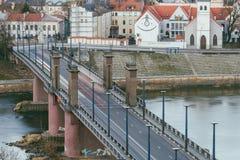 Ponte di Kaunas Aleksotas, Lituania Fotografie Stock