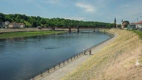 Ponte di Kaunas sopra Neman Fotografie Stock Libere da Diritti