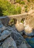 Ponte Di l'Accia bro nära Corscia i Korsika Royaltyfri Foto
