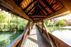 Ponte di legno antico in Nurnberg, Germania fotografia stock