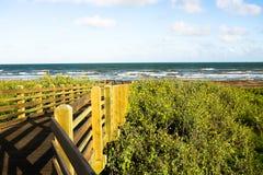 Ponte di legno che conduce all'oceano Immagini Stock Libere da Diritti