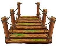Ponte di legno con muschio verde illustrazione di stock