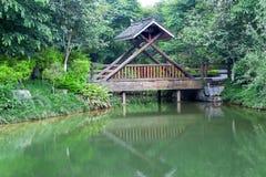 Ponte di legno coperto fotografia stock libera da diritti