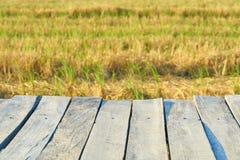 Ponte di legno d'annata astratto di struttura, vecchio ponte di legno vuoto con la natura del paesaggio e fondo vago del campo Fotografia Stock Libera da Diritti