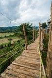 Ponte di legno sopra il campo di agricoltura dell'agricoltore per la passeggiata attraverso Immagine Stock