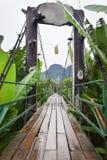 Ponte di legno sopra il fiume di Nam Song Immagini Stock