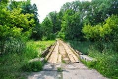 Ponte di legno sopra il fiume invaso con erba immagine stock libera da diritti