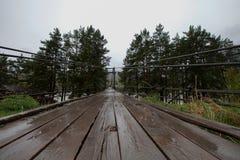 Ponte di legno sospeso nella pioggia con gli alberi ai bordi Immagini Stock