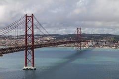 Ponte di Lisbona il 25 aprile Fotografia Stock Libera da Diritti