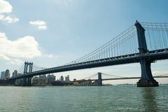 Ponte di Manhattan e la città Fotografia Stock Libera da Diritti