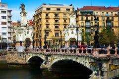 Ponte di Maria Cristina sopra il fiume di Urumea Immagini Stock