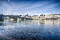 Ponte di Mittlere sopra il Reno, Basilea, Svizzera Immagine Stock Libera da Diritti