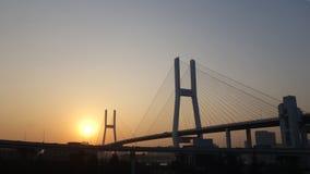 Ponte di Nanpu a Shanghai sopra il tramonto immagine stock