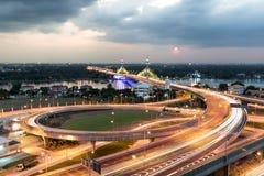 Ponte di Nonthaburi a Bangkok Tailandia Fotografie Stock Libere da Diritti