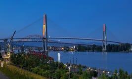 Ponte di Pattullo e ponte del treno di alianti, nuova Westminster fotografie stock libere da diritti