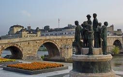Ponte di pietra, centro urbano di Skopje, Macedonia Fotografia Stock