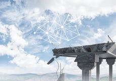 Ponte di pietra nocivo come idea per il problema ed il collegamento c del sociale immagini stock