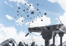 Ponte di pietra nocivo come idea per il problema ed il collegamento c del sociale immagine stock