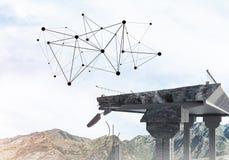 Ponte di pietra nocivo come idea per il problema ed il collegamento c del sociale immagini stock libere da diritti