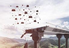 Ponte di pietra nocivo come idea per il problema ed il collegamento c del sociale fotografia stock