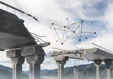Ponte di pietra nocivo come idea per il problema ed il concetto del collegamento del sociale Immagine Stock