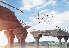 Ponte di pietra nocivo come idea per il problema ed il concetto del collegamento del sociale Immagini Stock