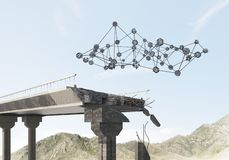 Ponte di pietra nocivo come idea per il problema ed il concetto del collegamento del sociale fotografia stock libera da diritti