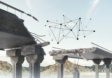 Ponte di pietra nocivo come idea per il problema ed il concetto del collegamento del sociale fotografie stock libere da diritti