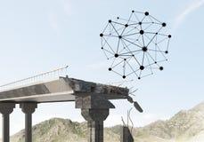 Ponte di pietra nocivo come idea per il problema ed il concetto del collegamento del sociale fotografie stock