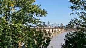Ponte di pietra Pont de Pierre in Bordeaux stock footage