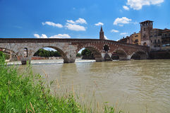 Ponte di Pietra (Stone bridge), Verona, Italy Stock Photos