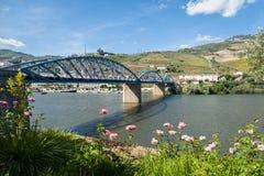 Ponte di Pinhao sopra il fiume il Duero, Portogallo Fotografie Stock Libere da Diritti