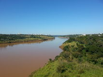 Ponte di Ponte da Amizade - del Brasile x Paraguay Fotografia Stock Libera da Diritti