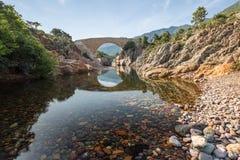 Ponte di Ponte Vecchiu sopra il fiume di Fango in Corsica Fotografia Stock
